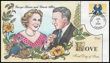 3976 / 39c True Blue : Love Series : Romantic Couples of the World: George Burns & Gracie Allen 2006 Collins Hand-Painted FDC