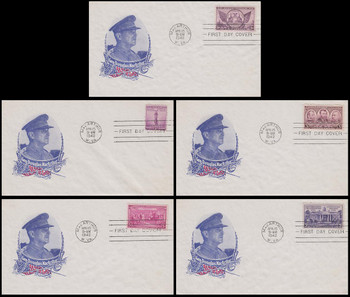 Gen. Douglas MacArthur Post Office Dedication / Renaming Set of 5 Address Erased Harry Ioor 1942 Patriotic Covers