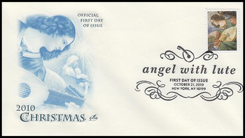 4477 / 44c Angel with Lute : Christmas Series Artcraft 2010 First Day Cover