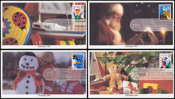 2791 - 2794 / 29c Greetings Christmas 1993 Set of 4 Mystic 1993 First Day Covers