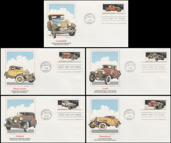 2381 - 2385 / 25c Classic Cars Set of 5 Artist Stanley Paine Fleetwood 1988 FDCs