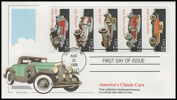 2385a / 25c Classic Cars Se-Tenant Booklet of 5 Fleetwood 1988 First Day Cover