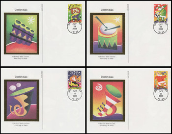 UX401 - UX404 / 23c Holiday Music Makers Set of 4 : Christmas Series Colorano Silk 2003 Postal Card First Day Covers