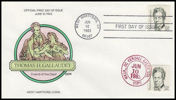 1861 / 20c Thomas H. Gallaudet : Great Americans Series Dual Cancel 1983 Collins Hand-Painted FDC