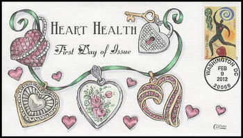 4625 / 45c Heart Health 2012 Collins Hand-Painted FDC