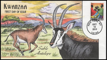 4584 / 44c Kwanzaa 2011 Collins Hand Painted First Day Cover