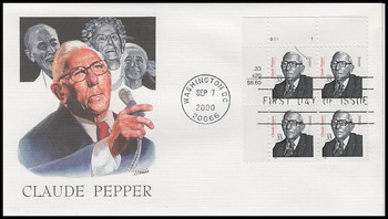3426 / 33c Claude Pepper Plate Block 2000 Fleetwood FDC (PEN INK ON STAMP : SEE PIC)