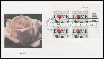 3551 / 57c Love Stamp Plate Block 2001 Fleetwood FDC