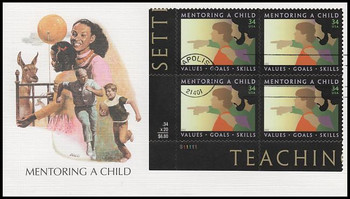 3556 / 34c Mentoring a Child Plate Block 2002 Fleetwood First Day Cover