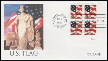 3630 / 37c U.S. Flag PSA Pane Plate Block Lower Right Fleetwood 2002 FDC