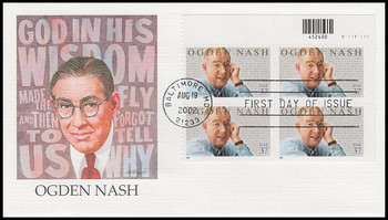 3659 / 37c Ogden Nash Plate Block Upper Right 2002 Fleetwood First Day Cover