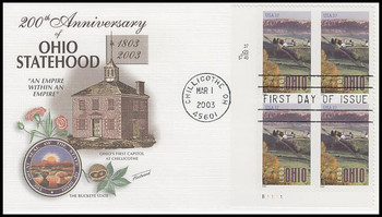 3773 / 37c Ohio Statehood Plate Block Lower Left 2003 Fleetwood First Day Cover