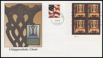 3755 / 4c Chippendale Chair PSA : American Design Series Plate Block 2004 Fleetwood FDC