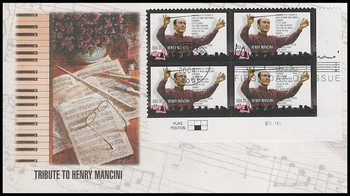 3839 / 37c Henry Mancini : Pink Panther Plate Block 2004 Fleetwood FDC