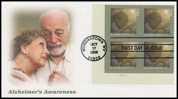 4358 / 42c Alzheimer's Awareness Plate Block Fleetwood 2008 FDC