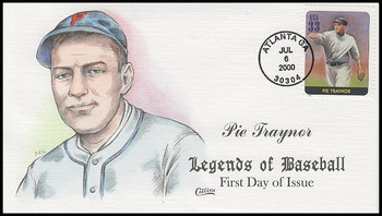 3408O / 33c Pie Traynor : Legends Of Baseball Collins Hand-Painted 2000 FDC