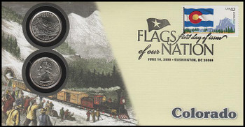 4280 / 42c Flags Of Our Nation : Colorado State Quarter Coin Fleetwood 2008 First Day Cover