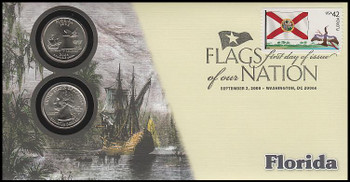 4284 / 42c Flags Of Our Nation : Florida State Quarter Coin Fleetwood 2008 First Day Cover