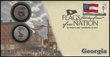 4285 / 42c Flags Of Our Nation : Georgia State Quarter Coin Fleetwood 2008 First Day Cover