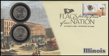 4289 / 42c Flags Of Our Nation : Illinois State Quarter Coin Fleetwood 2008 First Day Cover