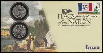 4291 / 42c Flags Of Our Nation : Iowa State Quarter Coin Fleetwood 2008 First Day Cover