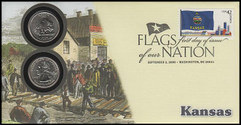 4292 / 42c Flags Of Our Nation : Kansas State Quarter Coin Fleetwood 2008 First Day Cover