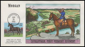 2156 / 22c Morgan : Horse Breed Collins Hand-Painted 1985 FDC