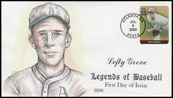 3408k / 33c Lefty Grove : Legends Of Baseball Collins Hand-Painted 2000 FDC