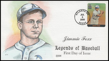 3408n / 33c Jimmie Foxx : Legends Of Baseball Collins Hand-Painted 2000 FDC