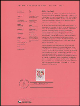 5036 / 49c Quilled Paper Heart : Love Series 2016 USPS Souvenir Page #1601