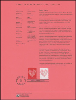 4955 - 4956 / 49c Red Forever Heart : Love Stamps 2015 USPS Souvenir Page #1503