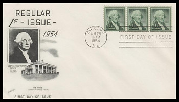 1031 / 1c Geroge Washington : Liberty Series Strip of 3 Fleetwood 1954 FDC
