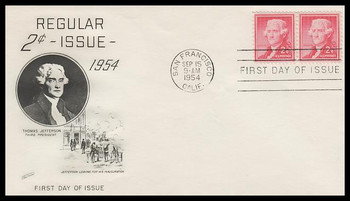 1033 / 2c Thomas Jefferson : Liberty Series Attached Pair Fleetwood 1954 FDC