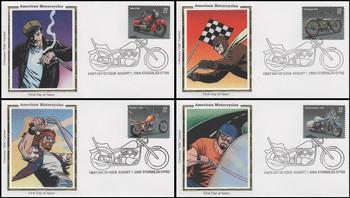 4085 - 4088 / 39c American Motorcycles : Pictorial Postmark Set of 4 Colorano Silk 2006 FDCs