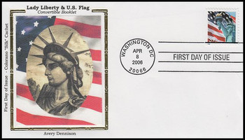 3985 / 39c Statue of Liberty and Flag Single from Covertible Bklt AVR Colorano Silk 2006 FDC