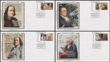 4021 - 4024 / 39c Benjamin Franklin Pictorial Postmark Set of 4 Colorano Silk 2006 FDCs