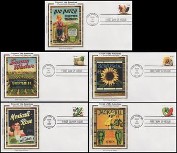 4008 - 4012 / 39c Crops of America PSA Convertible Booklet Singles Set of 5 Colorano Silk 2006 FDCs