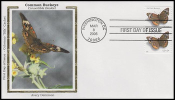 4001a / 39c Common Buckeye Convertible Booklet Pair Colorano Silk 2006 FDC