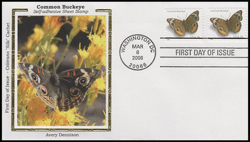 4001 / 39c Common Buckeye PSA Sheet Pair Colorano Silk 2006 FDC