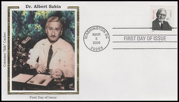 3435 / 87c Dr. Albert Sabin : Distinguished Americans Series Colorano Silk 2006 FDC