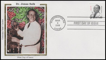 3428 / 63c Dr. Jonas Salk : Distinguished Americans Series Colorano Silk 2006 FDC