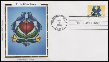 3976 / 39c Non-Denominated True Blue Love Booklet Single 2006 Colorano Silk FDC