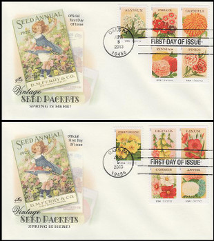 4754 - 4763 / 46c Vintage Seed Packets All 10 Stamps On 2 Artcraft 2013 First Day Covers