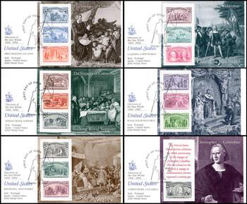 2624 - 2629 / 1c - $5 Columbus Souvenir Sheets Set of 6 Fleetwood 1992 FDCs