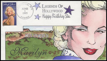 2967 / 32c Marilyn Monroe : Legends of Hollywood 1995 Collins Hand-Painted FDC