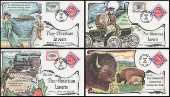 3505a - d / Pan - American Inverts Souvenir Sheet Singles Set of 4 Collins Hand-Painted 2001 FDC