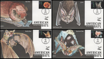 3661 - 3664 / 37c American Bats Set of 4 Collins Hand-Painted 2001 FDC