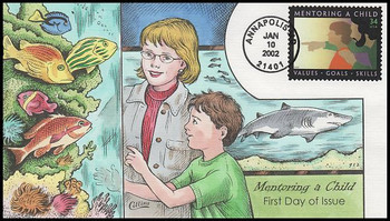 3556 / 34c Mentoring a Child 2002 Collins Hand-Painted FDC