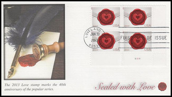 4741 / 46c Sealed With Love : Love Series 2013 Plate Block Fleetwood FDC