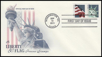 4561 - 4562 / 44c Lady Liberty and Flag Pair Artcraft 2011 FDC